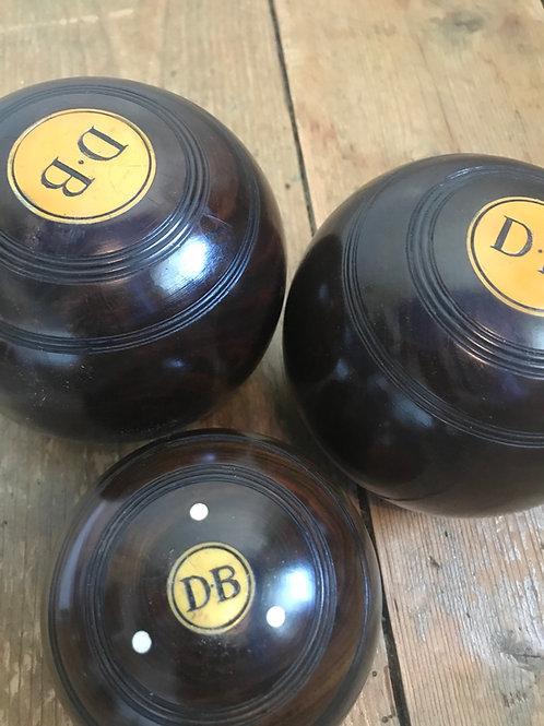 Set of 3 Lignum Vitae Bowling Balls