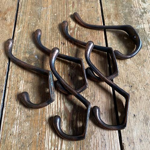 Set of Six Coppered Coat Hooks