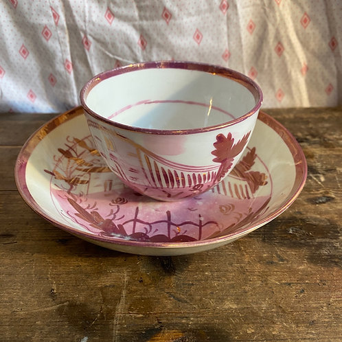 Antique Sunderland Lustre Cup and Saucer