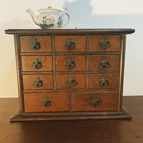 Antique Bank of Oak Drawers