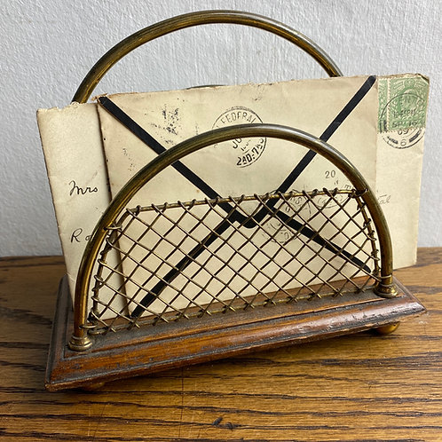 Antique Brass Wire Letter Rack