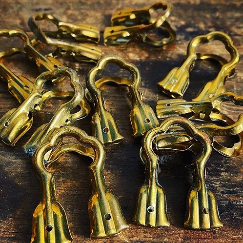 Antique Sprung Brass Clips