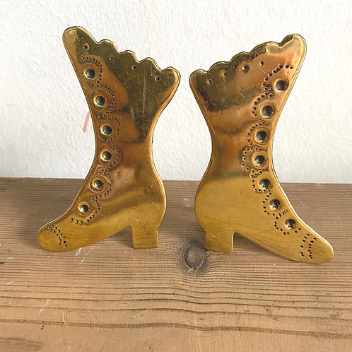 Pair of Victorian Decorative Brass Boots