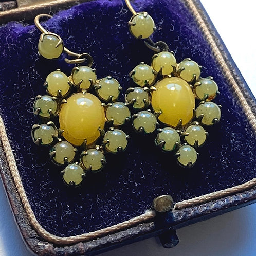 Victorian Yellow Stone Drop Earrings