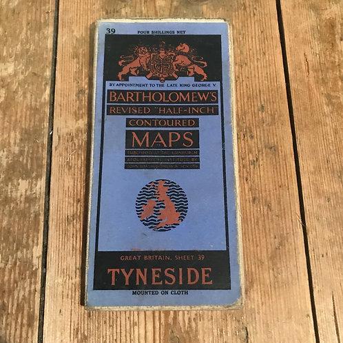 Vintage Bartholomew's Map of Tyneside