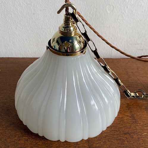 Antique Moonstone Shade with Brass Fittings