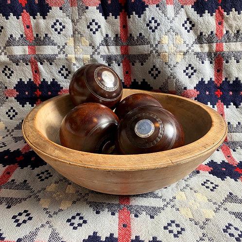 Antique Lignum Vitae Lawn Bowls with Silver Mounts