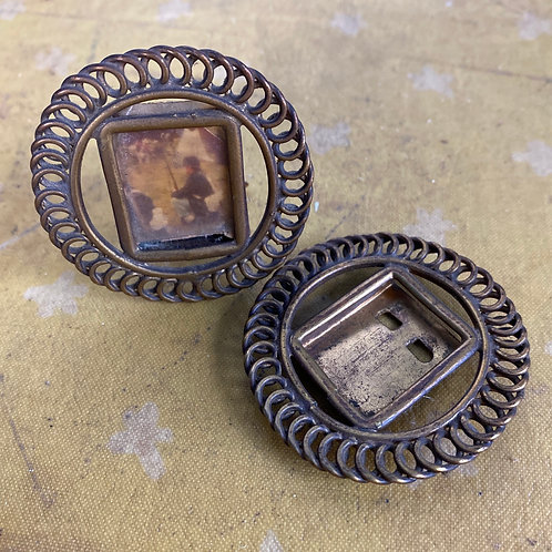 Pair of Tiny Antique Brass Ring Frames