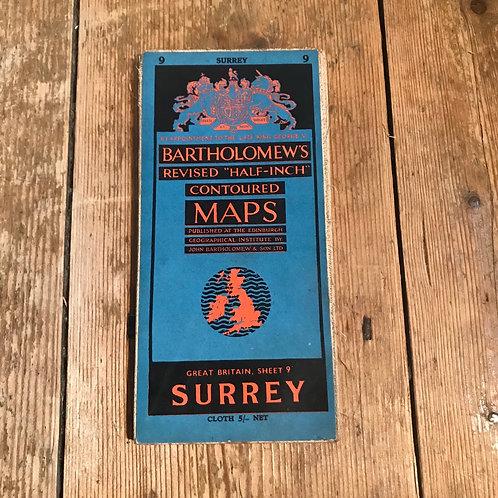 Vintage 1953 Bartholomew Map of Surrey