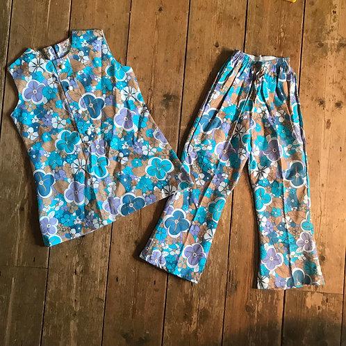 Child's 1960's Cotton Flower Power Trouser Suit
