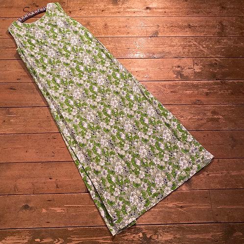 Vintage Handsewn Cotton Maxi Dress with Kick Pleats