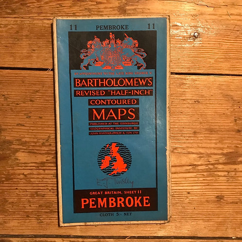 Vintage Bartholomew's Map of Pembroke