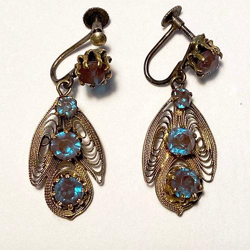 Vintage Screw Fastening Filigree Earrings