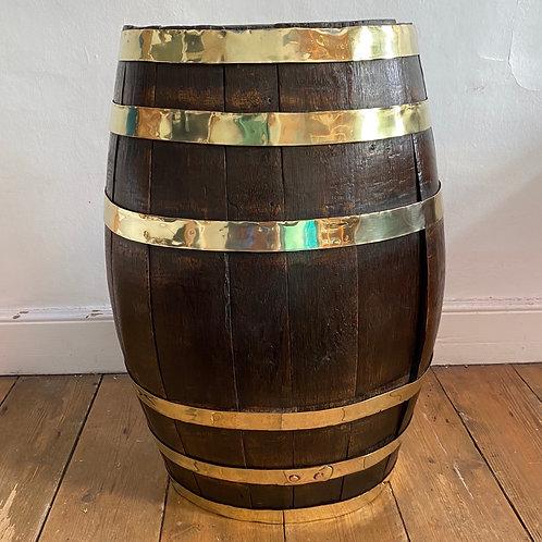 Large Brass Bound Coopered Oak Barrell Stick Stand