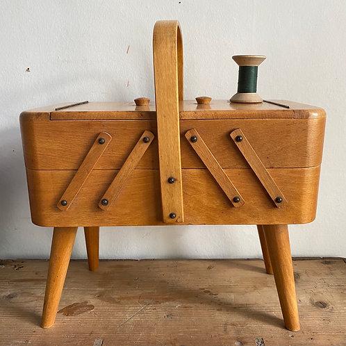 Mid Century Folding Sewing Box