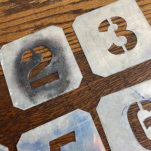 Set of Vintage Zinc Number Stencils