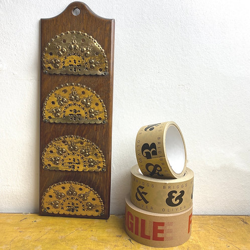 Hanging Brass & Oak Letter Rack