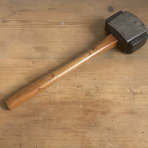 Antique Engraved Steel and Wood Mallet