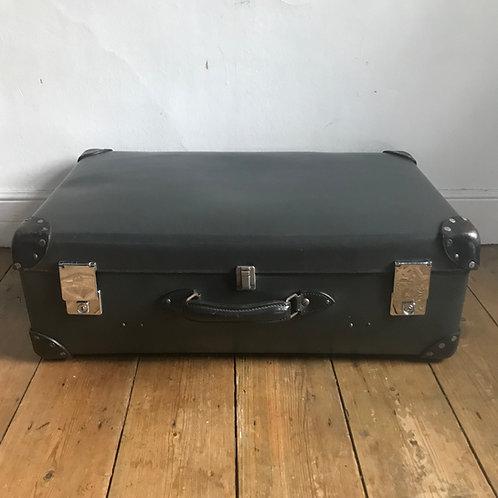 Large Grey Vintage Globe Trotter Suitcase