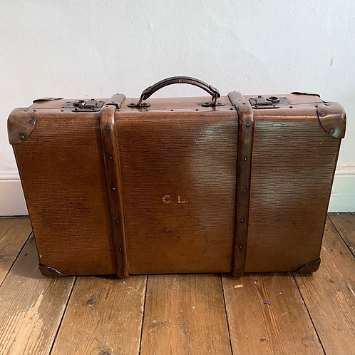 Vintage Wood and Leather Bound Suitcase