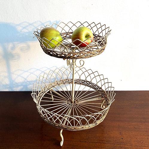 Vintage Wire Double Tier Basket