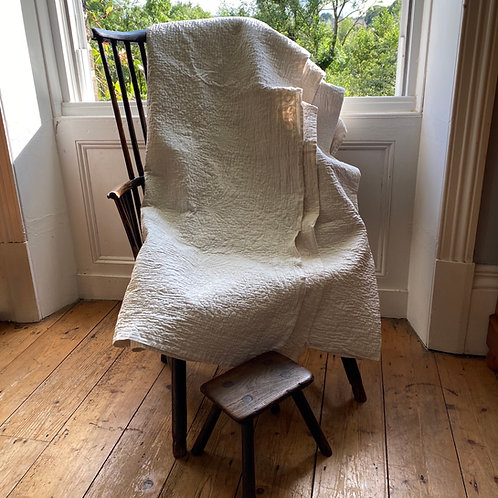 Antique Hand Stitched White Durham Quilt