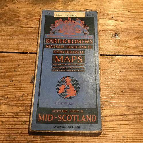 Vintage Bartholomew's Map of Mid Scotland