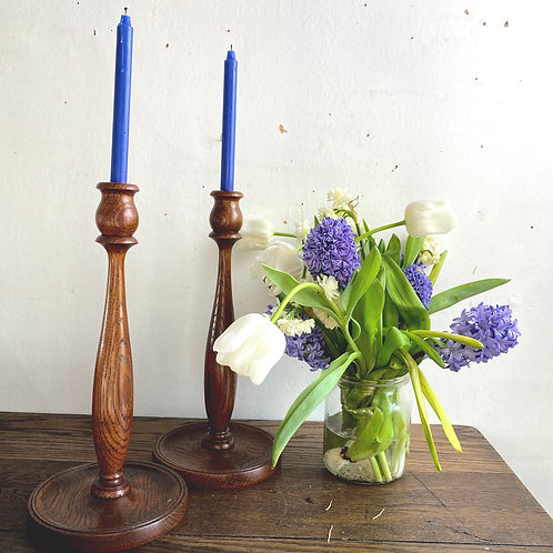 Pair of Tall 1920's Oak Candlesticks