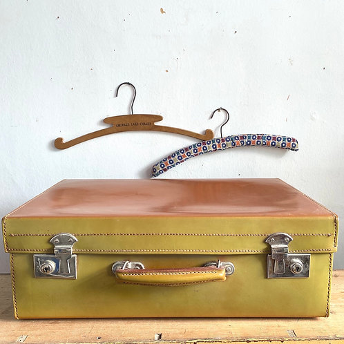 Vintage Two Tone Leather Suitcase