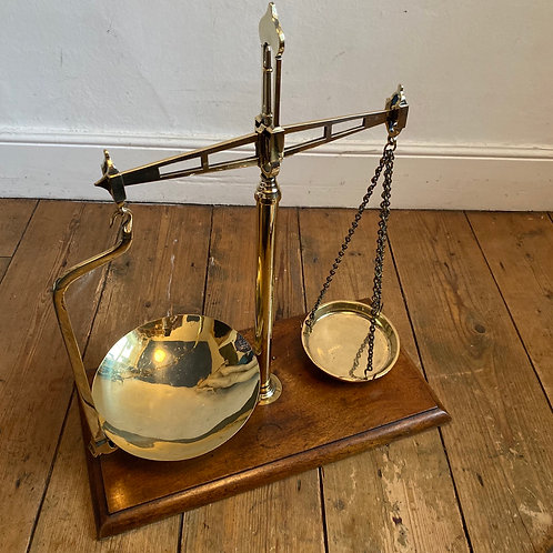 Antique Brass Apothecary Scales on a Mahogany Base