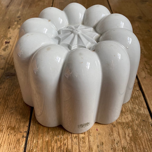 Large Antique White Ironstone Shelley Mould