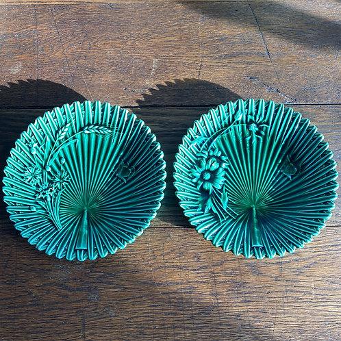 Pair of Victorian Green Maiolica Plates