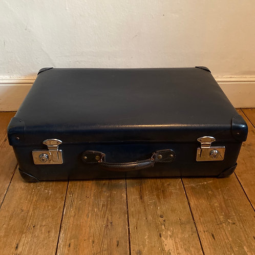 Small Vintage Blue Globe Trotter Suitcase