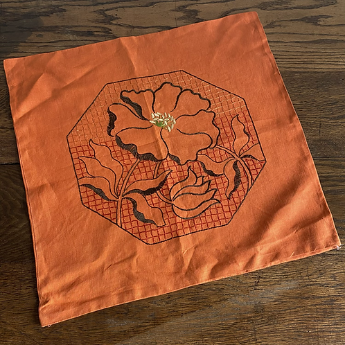 1930's Embroidered Linen Cushion Cover