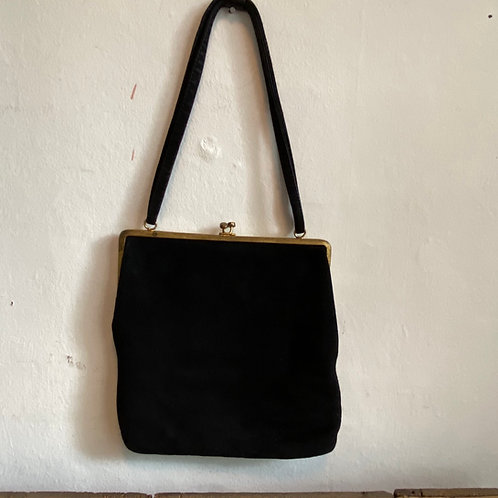 Vintage Black Soft Suede Bag