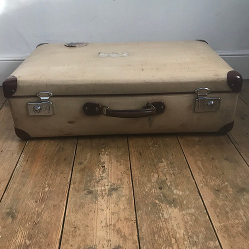 Rare Cream and Brown Vintage  Globe Trotter
