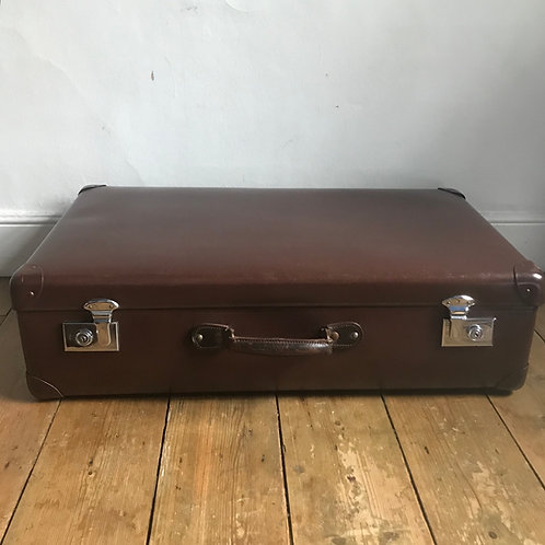1950's Brown Globe Trotter Suitcase
