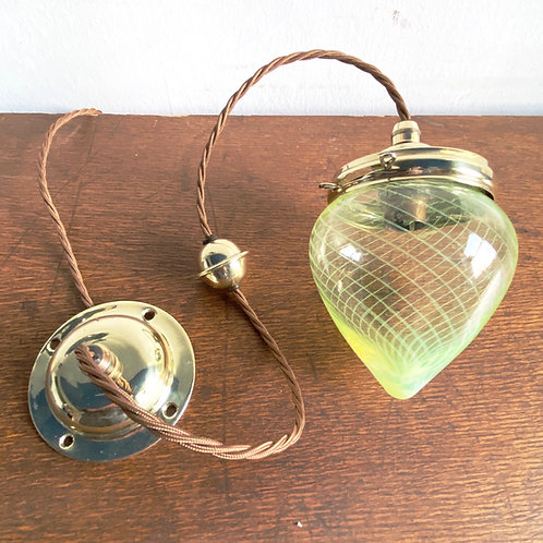 Vaseline Glass Pendant Shade with Brass Fittings