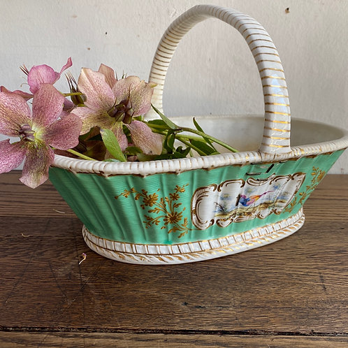 Antique Stapled Pottery Fruit or Flower Basket