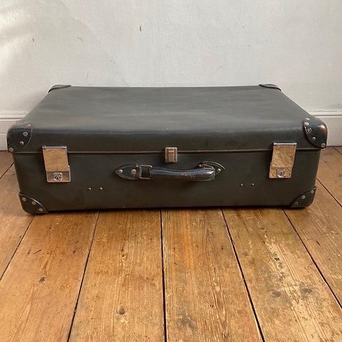 Large Vintage Grey Globe Trotter Suitcase