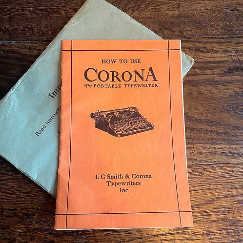 Original 1920's Smith & Corona Typewriter Manual