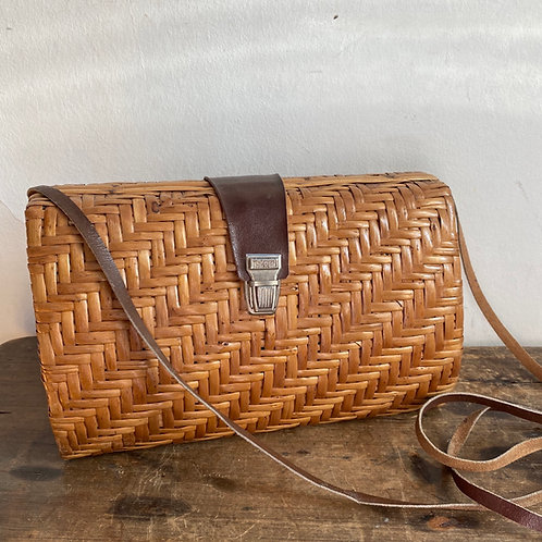 Vintage Wicker and Leather Bag