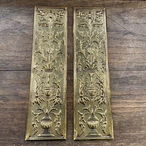 Pair of Embossed Brass Fingerplates