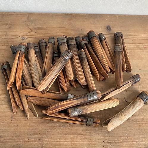 32 Handmade Wood and Tin 'Gypsy' Pegs