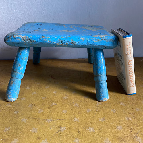 Vintage Wooden Milking Stool in Chippy Blue Paint