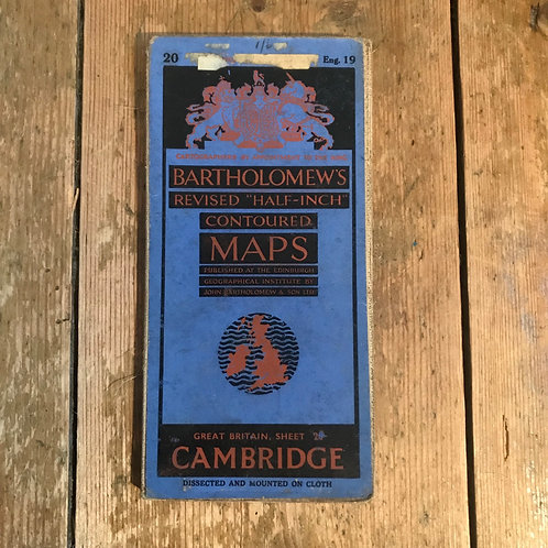 Vintage Bartholomew's Map of Cambridgeshire