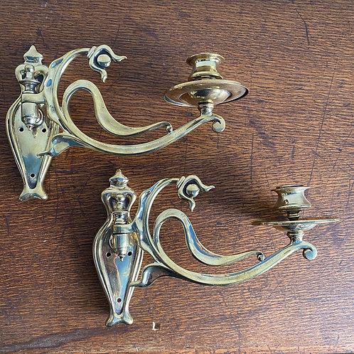Pair of Cast Brass Art Nouveau Candle Sconces