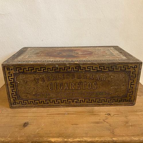 Wooden Cigarette Box with Original Lithograph Labels