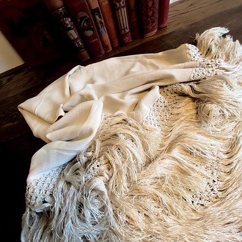 Vintage Tasselled Silk Piano Shawl