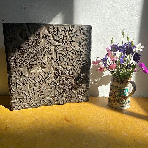 Vintage Wood & Metal Indian Block Print